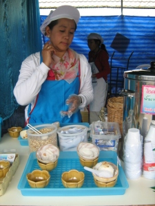 Refreshing coconut ice-cream at Chatuchak