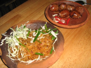 Noodles and Isan Sausages